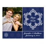 Winter Wedding Save the Date Photo Postcard - Navy