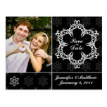 Winter Wedding Save the Date Postcard - B&W