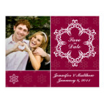 Winter Wedding Save the Date Postcard - Cranberry
