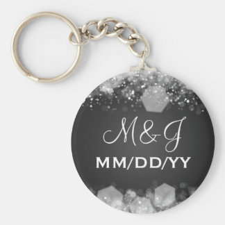 Winter Wedding Save The Date Sparkling Night Black Keychain