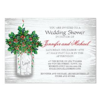 "Winter Wedding Shower Mason Jar Holly Berry 5"" X 7"" Invitation Card"