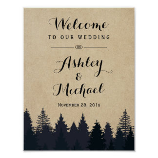 Winter Wedding Sign Rustic Pine Trees Kraft Poster