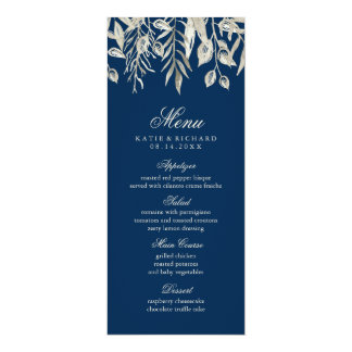 Winter Wedding SIlver and Navy Blue Menu Card