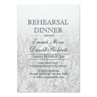 Winter Wedding Snow Forest Rehearsal Dinner Card
