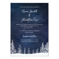 Winter Wedding Snow Stars Navy Blue White Wedding Invitation