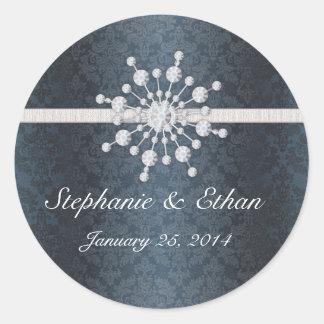 Winter Wedding Snowflake Blue Damask Favor Sticker
