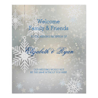 Winter Wedding, Snowflakes, Custom Welcome Poster
