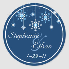 Winter Wedding Snowflakes Personalized Sticker