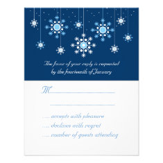 Winter Wedding Snowflakes Response Card Personalized Announcement