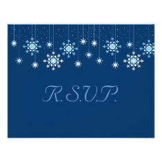 Winter Wedding Snowflakes Response Card Announcement