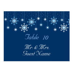 Winter Wedding Snowflakes Table Card Post Card
