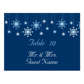 Winter Wedding Snowflakes Table Card Postcard