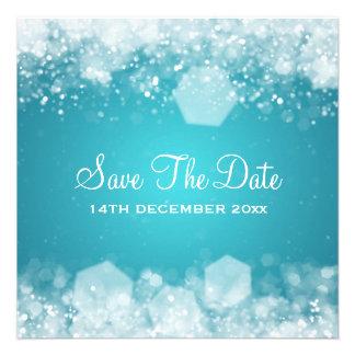 Winter Wedding Sparkling Night Blue Personalized Invitations