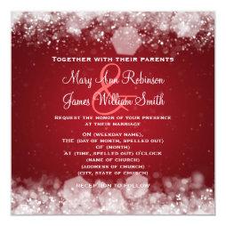 Winter Wedding Sparkling Night Red Personalized Invitation
