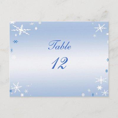 Winter Wedding Table Number Post Cards by BebopsWeddings