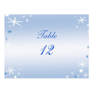 Winter Wedding Table Number Postcard
