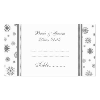 Winter Wedding Table Place Setting Cards Grey Business Card Templates