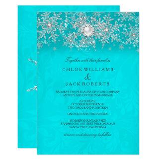Winter Wedding Teal Crystal Pearl Snowflake Silver Invitation