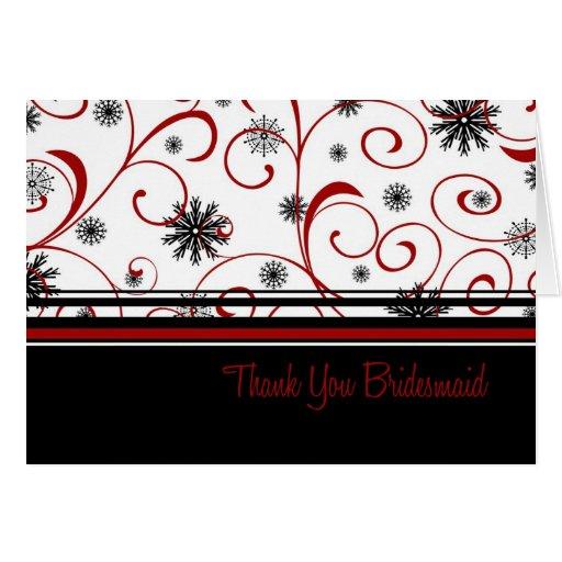 Winter Wedding Thank You Bridesmaid Card