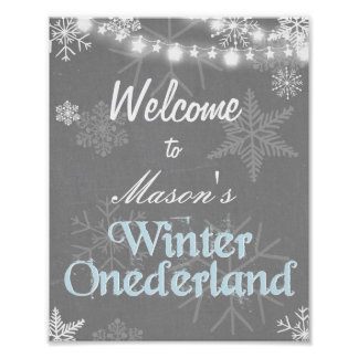 Winter Welcome Sign Onederland birthday boy snow