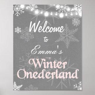 Winter Welcome Sign Onederland birthday Girl Pink