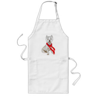 Winter Westie in a Red Scarf Apron