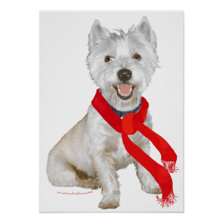 Winter Westie in a Red Scarf Poster
