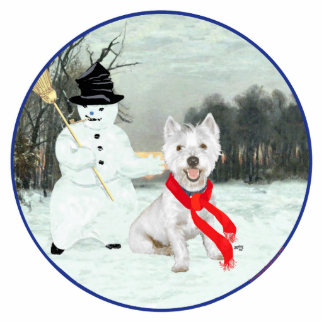 Winter Westie with a Snowman Cutout