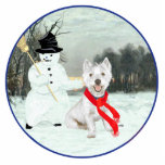 Winter Westie with a Snowman Photo Cutout