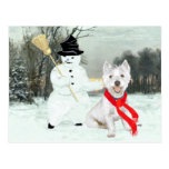 Winter Westie with a Snowman Post Card