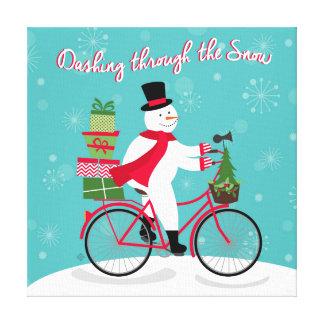 Winter Whimisical snowman on bike Canvas Print