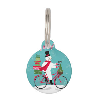 Winter Whimisical snowman on bike Pet ID Tags