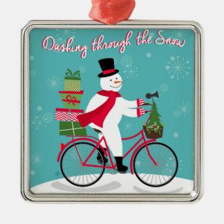 Winter Whimisical snowman on bike Metal Ornament