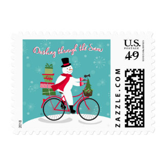 Winter Whimisical snowman on bike Postage Stamps