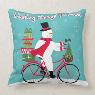Winter Whimisical snowman on bike Throw Pillow