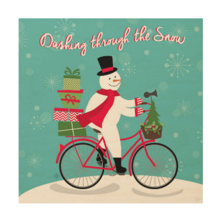 Winter Whimisical snowman on bike Wood Wall Art