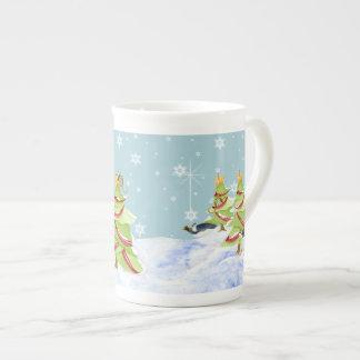 Winter Whimsey Penguin Polar Bear Babies in Snow Tea Cup