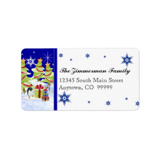 Winter Whimsy Cute Penguin Babies in Snow Star Address Label