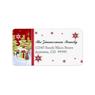 Winter Whimsy Cute Penguin Babies in Snow Star Personalized Address Labels
