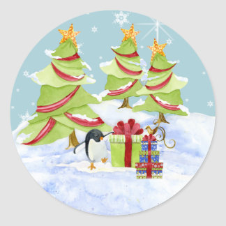 Winter Whimsy Cute Polar Bear Babies in Snow Star Classic Round Sticker