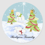 Winter Whimsy Cute Polar Bear Babies in Snow Star Classic Round Sticker