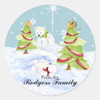 Winter Whimsy Cute Polar Bear Babies in Snow Star Sticker