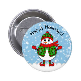 Winter Whimsy Lady Snowman Happy Holidays Button