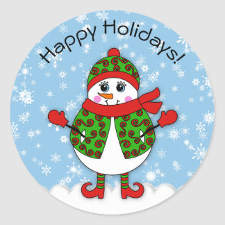 Winter Whimsy Lady Snowman Happy Holidays Classic Round Sticker
