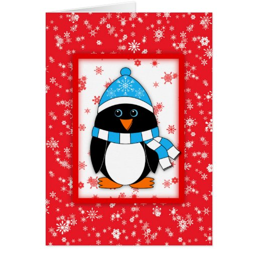 Winter whimsy penguin christmas greeting card zazzle for Penguin christmas cards homemade