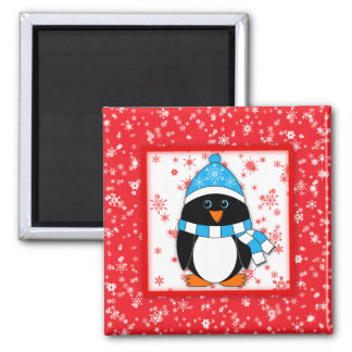 Winter Whimsy Penguin 2 Inch Square Magnet