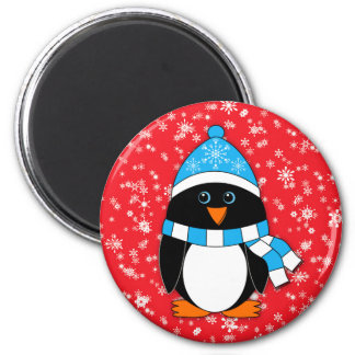 Winter Whimsy Penguin 2 Inch Round Magnet