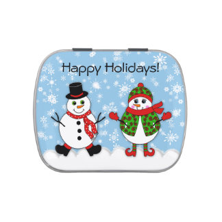 Winter Whimsy Snowman Couple Jelly Belly Candy Tin