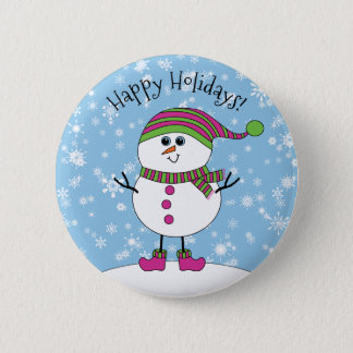 Winter Whimsy Snowman Happy Holidays Button