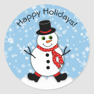 Winter Whimsy Snowman Happy Holidays Classic Round Sticker